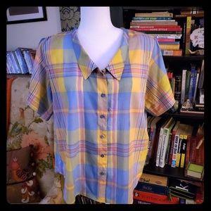 Vintage Plaid Shirt with Collar